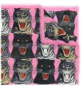 Gucci tiger face print shawl