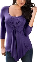 ECOWISH Womens O Neck Ruched Twist Knot Front Long Sleeve Tunic Blouse