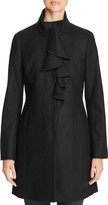 T Tahari Kate Ruffle-Trim Coat
