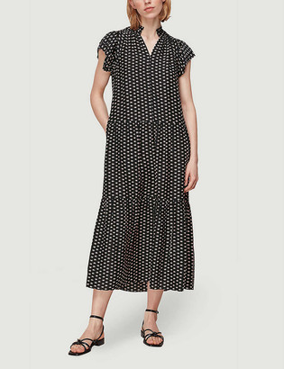 Whistles Elephant-print silk-crepe midi dress
