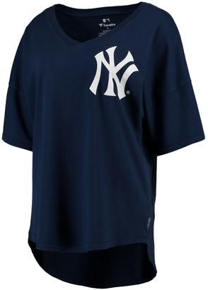 New York Yankees Fanatics Women's Navy Oversized Spirit Jersey V-Neck T-Shirt