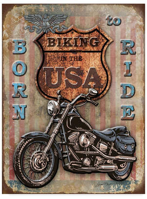 "Jean Plout 'Bike In The Usa' Canvas Art - 14"" x 19"""