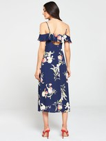 Warehouse Iris Floral Midi Dress - Navy