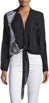 Halston Printed Tie-Front Blouse, Black/White