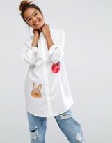 Mini Cream Long Sleeve Tunic Shirt With Badges