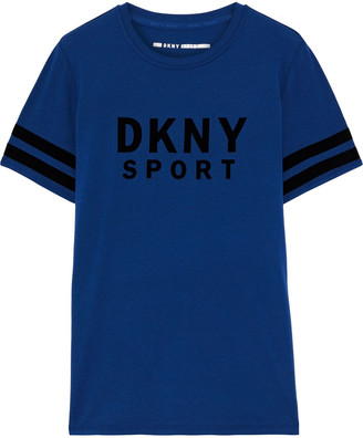 DKNY Flocked Stretch Cotton And Modal-blend Jersey T-shirt
