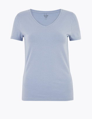 Marks and Spencer Cotton V-Neck Fitted T-Shirt