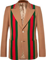 Gucci - Camel Striped Wool and Silk-Blend Crepe Suit Jacket