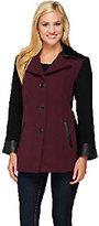 Susan Graver Three Button Color-Block Wool Coat w/ Faux Leather