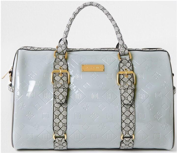 Thumbnail for your product : River Island Grey Mono Barrel Bag