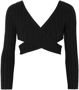 Carine Gilson Ronan Cutout Ribbed Merino Wool-blend Top