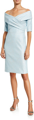 Rickie Freeman For Teri Jon Metallic Off-the-Shoulder Cross-Front Dress