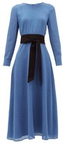Cefinn - Zoe Piped-sleeve Belted Voile Dress - Womens - Light Blue
