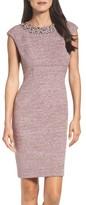 Eliza J Petite Women's Embellished Sparkle Knit Sheath Dress