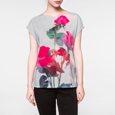 Paul Smith Women's White Sleeveless Top With 'Roses' Print