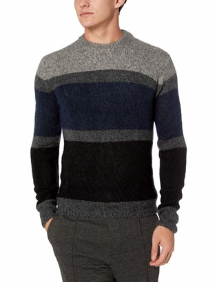 French Connection Men's Long Sleeve Mohair Stripe Sweater