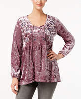 Style&Co. Style & Co Crushed Velvet Peasant Top, Created for Macy's