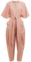 Palmer Harding Palmer//Harding Palmer//harding - Dana Striped Cotton-blend Jumpsuit - Womens - Red Stripe