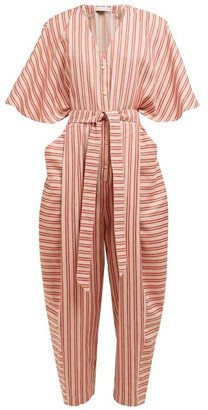 Palmer Harding Palmer//harding - Dana Striped Cotton-blend Jumpsuit - Womens - Red Stripe