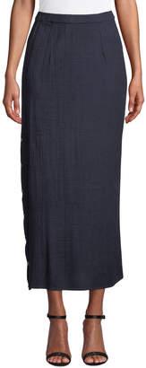 Misook Petite Side-Button Midi Skirt