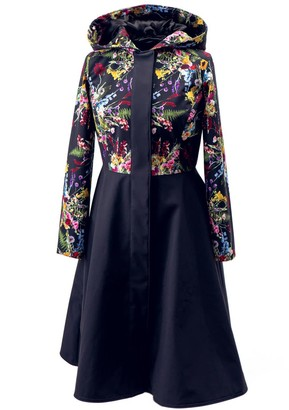 Rainsisters Navy Blue Waterproof Coat With Nordic Wild Flowers: Navy Meadow