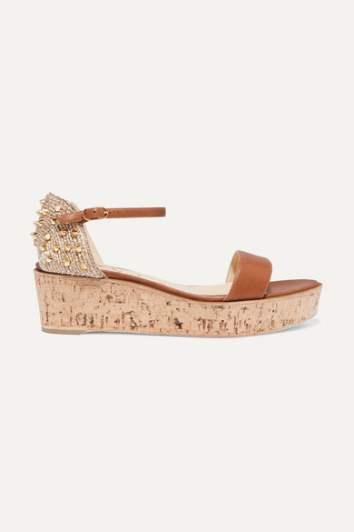 Christian Louboutin Bellamonica 60 Spiked Leather Espadrille Wedge Sandals - Tan