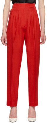 Burberry Red Marleigh Wool Pleated Trousers