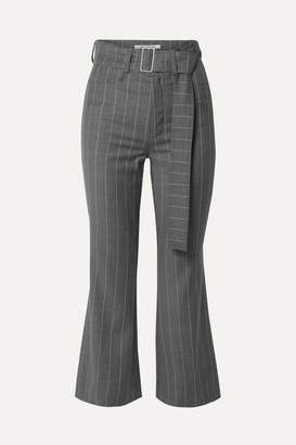 Orseund Iris Cropped Belted Pinstriped Wool-blend Flared Pants - Gray