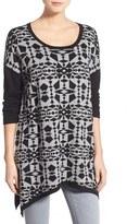 Kensie Print Block Asymmetrical Pullover