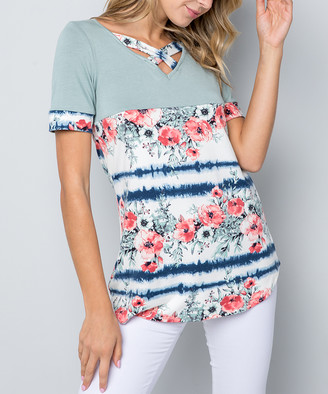 Celeste Women's Tunics SAGE/FLOWER - Sage Floral & Tie-Dye Crisscross Tunic - Women & Plus