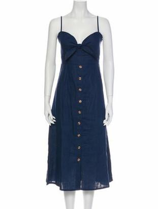 Faithfull The Brand Linen Knee-Length Dress w/ Tags Blue