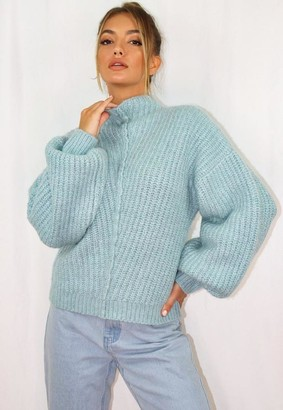Missguided Blue Exposed Seam Rib Knit Sweater