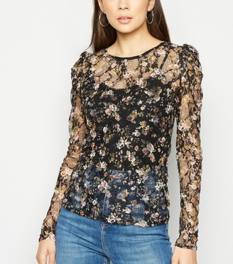 New Look Floral Lace Long Sleeve Top