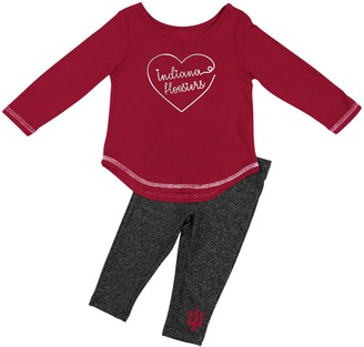 Colosseum Girls Infant Crimson Indiana Hoosiers Ice Metallic Long Sleeve T-Shirt & Leggings Set