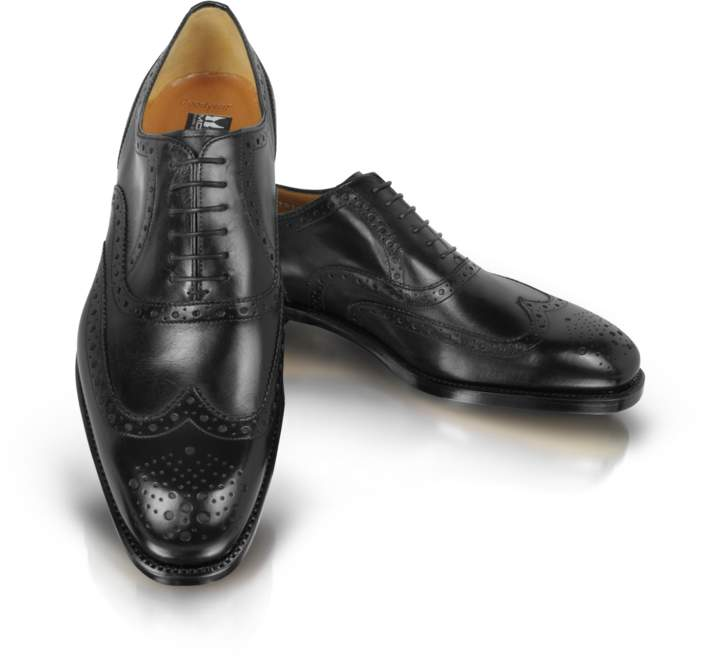 Moreschi Black Leather Wingtip Oxford Shoes