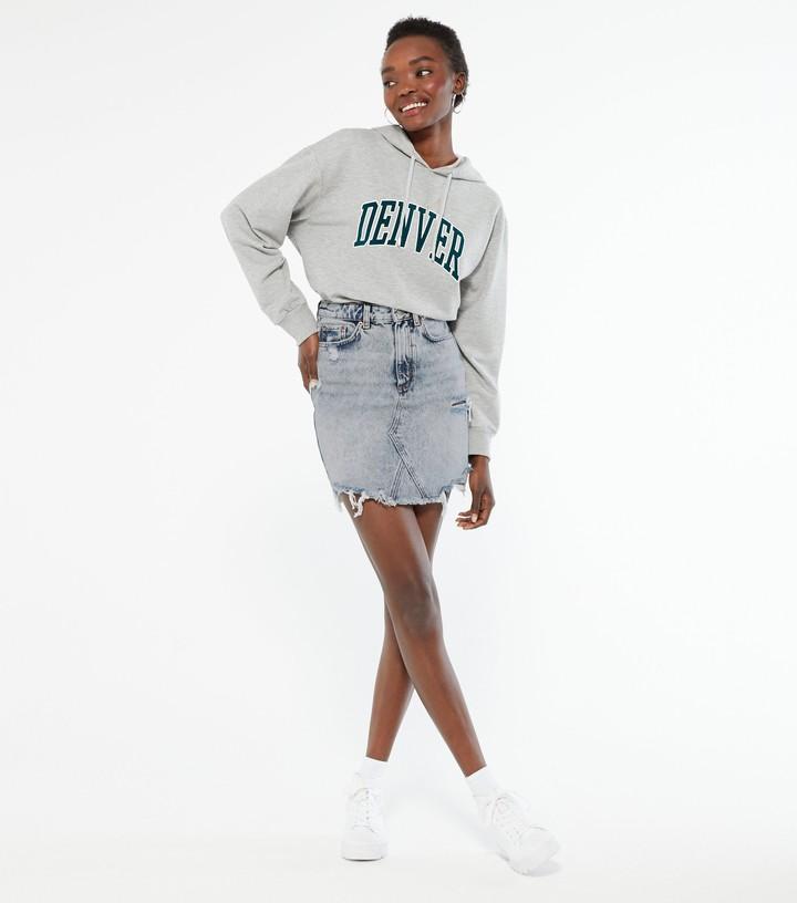 New Look Bright Ripped Denim Mom Skirt