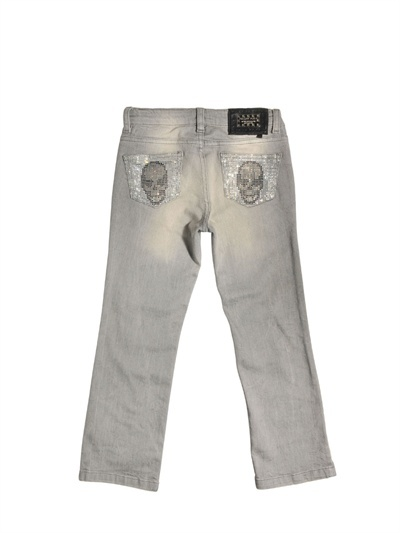 5 Pocket Denim Jeans With Rhinestones