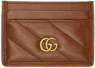 Gucci Brown Diagonal GG Marmont 2.0 Card Holder