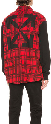 Off-White Contrast Sleeve Shirt in Red & Black | FWRD