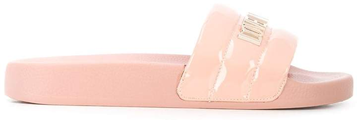 Love Moschino Logo Plaque Faux-Leather Slides