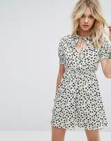 Influence Shirred Sleeve Collar Dress