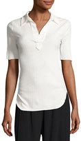 Helmut Lang Corded Rib-Knit Short-Sleeve Shirt, White