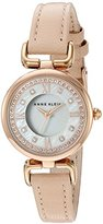 Anne Klein Women's AK/2382RGLP Swarovski Crystal Accented Rose Gold-Tone and Pink Leather Strap Watch
