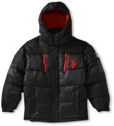 U.S. Polo Assn. Kids Color Block Puffer Jacket with Polar Fleece Lining (Big Kids)