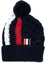 Thom Browne striped pom pom beanie