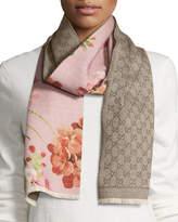 Gucci Miniorophin Floral & Logo Wool Scarf