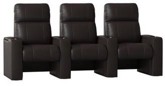 Latitude Run Luxury Manual Rocker Recline Home Theater Sofa (Row of 3) Latitude Run Body Fabric: Ultra Mahogany