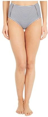 Jonathan Simkhai Azure Seersucker Stripe Bikini Bottoms (Midnight Stripe) Women's Swimwear