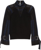 Sacai Wool, Crochet And Chiffon Top - Black