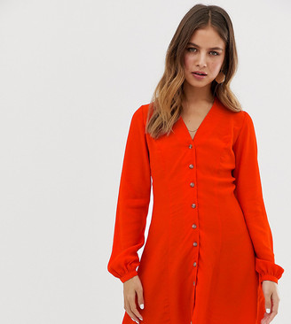 New Look button through tea dress in red